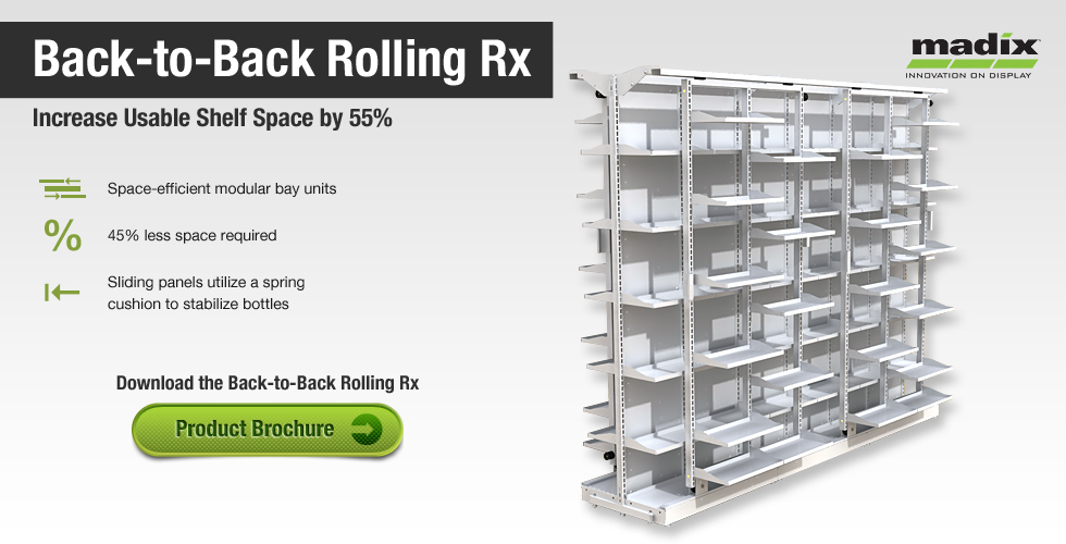 Madix's Back-to-Back Rolling Rx Unit - Creates 55% more shelf space by utilizing rolling panels on either side of the unit.