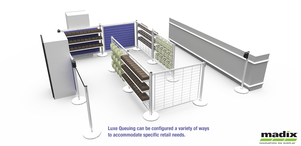 Luxe Queuing can be configured a variety of ways to accommodate specific retail needs.