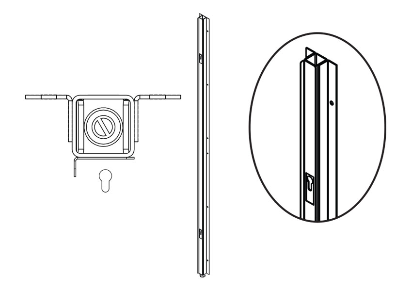 FRV2U(NH)WA-Fitting Room Upright Wall Attachment