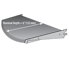 SUSRF(TYPE)-(NW)(ND)-Standard Upper Shelf with Radius Front