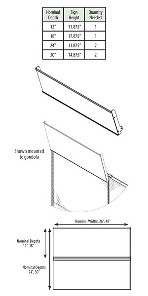 WSSH3P-(NW)(ND)-Wing Shelf Sign Holder, 3 Position
