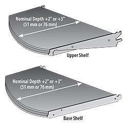 (OPT)MRF-(NW)(ND)-(ED)-Standard Upper & Base Shelf with Multi Radius Front